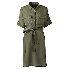Lands' End - Green petite utility shirt dress