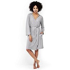 Lands' End - Grey hooded knee length dressing gown