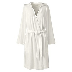 Lands  End - Cream womens petite hooded knee length dressing gown fc85ca3ca