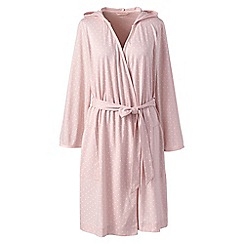 Lands' End - Pink hooded knee length dressing gown