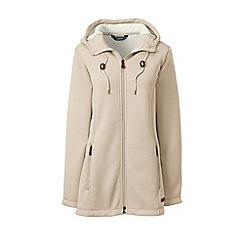 Lands' End - Beige hooded fleece-lined longline jacket