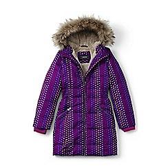 Lands' End - Girls' purple fleece lined patterned down coat