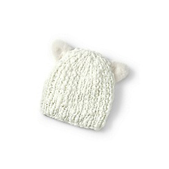Lands' End - Girls' cream cat ear beanie hat