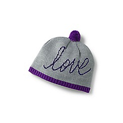 Lands' End - Girls' grey graphic beanie hat