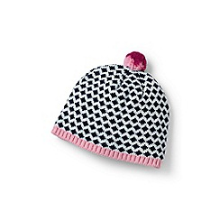 Lands' End - Girls' blue graphic beanie hat