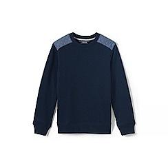 Lands' End - Boys' blue chambray trim sweatshirt