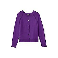 Lands' End - Girls' purple  crew neck sophie cardigan