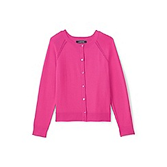 Lands' End - Pink girls' crew neck sophie cardigan