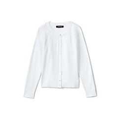 Lands' End - Girls' white crew neck sophie cardigan