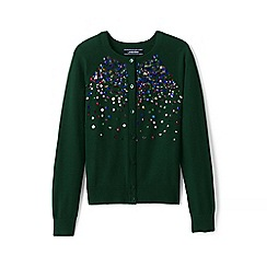Lands' End - Girls' green embellished crew neck sophie cardigan