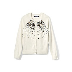 Lands' End - Girls' cream embellished crew neck sophie cardigan