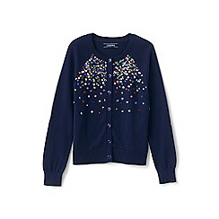 Lands' End - Blue girls' sequined crew neck sophie cardigan