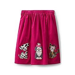 Lands' End - Girls' pink applique cord skirt