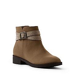 Lands' End - Light brown regular buckle ankle boots