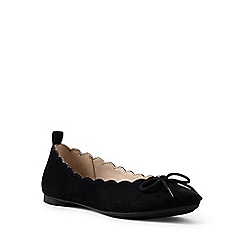 Lands' End - Black regular scalloped ballet pumps