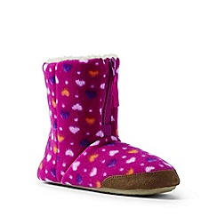 Lands' End - Bright pink fleece bootie slippers