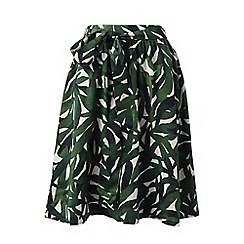 Lands' End - Green pull-on lyocell print A-line skirt