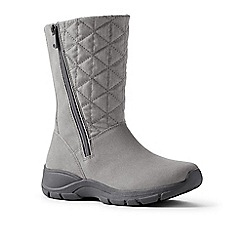 Lands' End - Grey quilted side-zip winter boots