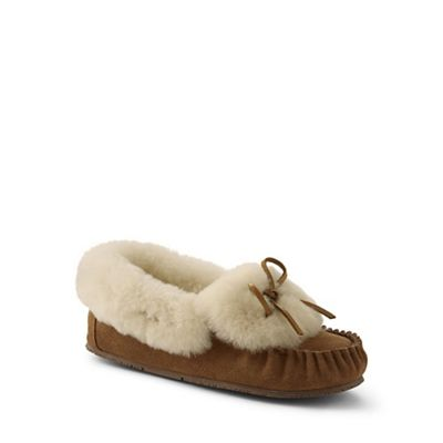 Womens Shearling Moccasin Slippers - 6 - BLUE Lands End 8FeAKMe