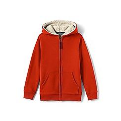 Lands' End - Boys' brown sherpa-lined hoodie