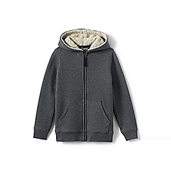 Lands' End - Boys' grey sherpa-lined hoodie