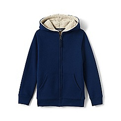 Lands' End - Blue Boys' Sherpa-Lined Cotton Blend Hoodie