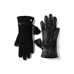 Lands' End - Black quilted suede ez touch gloves
