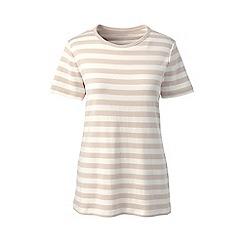 Lands' End - Beige stripe cotton rib crew neck t-shirt