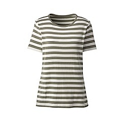 Lands' End - Green stripe cotton rib crew neck t-shirt