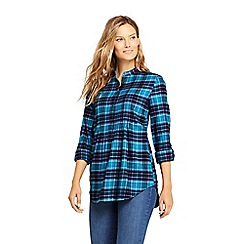 Lands' End - Blue pintucked brushed cotton tunic top