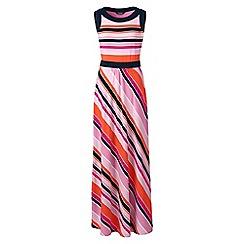 Lands' End - Pink stretch jersey stripe maxi dress