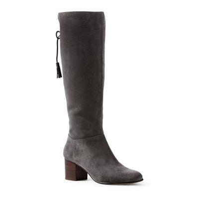 Lands' End - Grey block heel suede boots