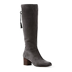 Lands' End - Grey block heel suede boots
