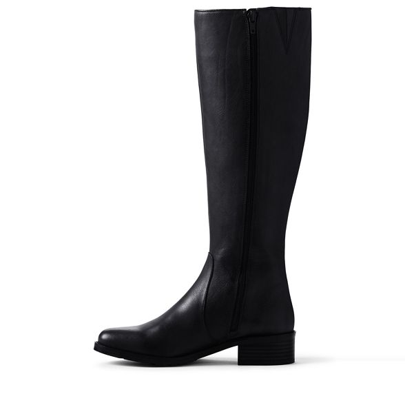 boots wide Lands' End leather Black RwgqaRfZn