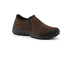 Lands' End - Brown wide sherpa-lined moccasins shoes