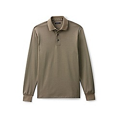 Lands' End - Beige herringbone jacquard supima rugby shirt