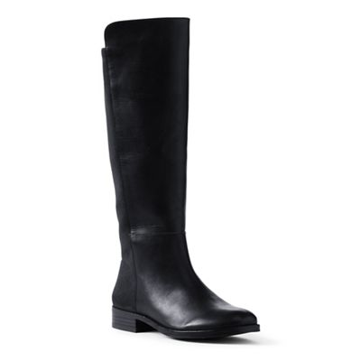 Lands' End - Black wide leather/stretch boots