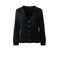 Lands' End - Black supima 3-quarter sleeves dress cardigan