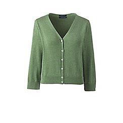 Lands' End - Green supima 3-quarter sleeves dress cardigan