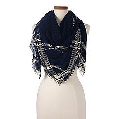 Lands' End - Blue animal print jacquard scarf