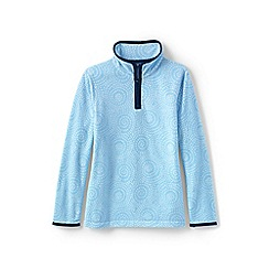 Lands' End - Blue girls' thermacheck-100 printed fleece half-zip pullover