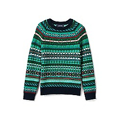 Lands' End - Boys' green fair isle crew neck jumper