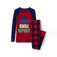 Lands' End - Boys' red snug fit graphic pyjamas