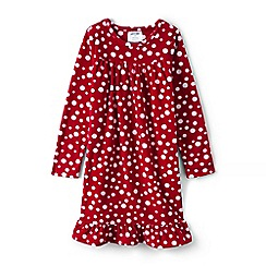 Lands' End - Girls' red ruffle hem printed night dress