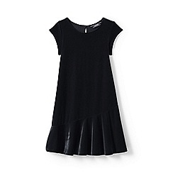 Lands' End - Girls' black cap sleeve velveteen dress