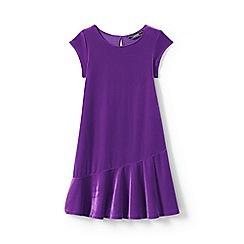 Lands' End - Girls' purple cap sleeve velveteen dress