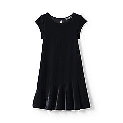 Lands' End - Girls' black cap sleeve velveteen dress