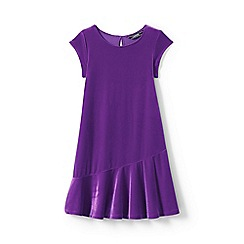Lands' End - Girls' purple cap sleeve velveteen dress