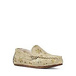 Lands' End - Gold embellished moccasin slippers