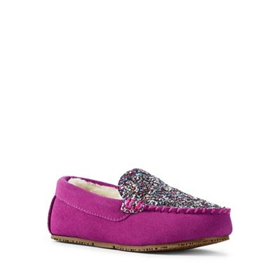 Lands' End End End - Dark pink embellished moccasin slippers ae3b7f